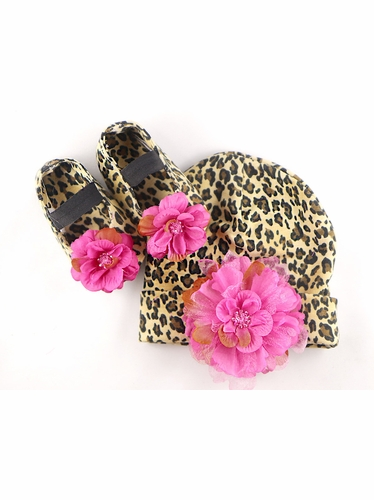 PLH Bows Fruit Punch Cheetah Crib Shoes & Hat