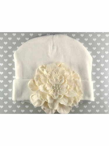 PLH Bows Ivory Flower Embellished Hat