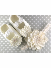 PLH Bows Ivory Petal Flower Headband & Crib Shoes