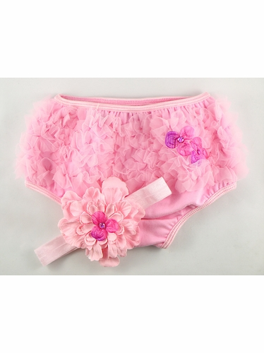 PLH Bows Pink Ruffle Diaper Cover & Headband Set