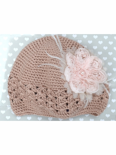 PLH Bows Taupe Vintage Flower Crochet Hat