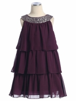 Plum 3-Tier Chiffon Sequins Dress