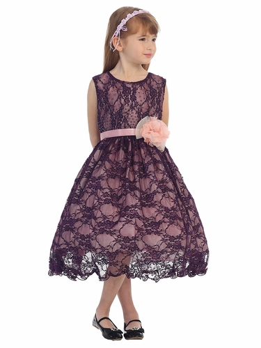 Plum Floral Beaded Lace Dress