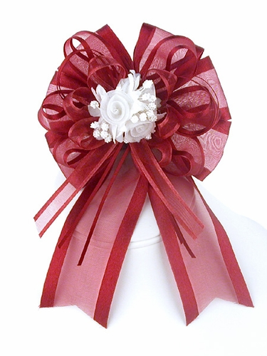 Plum Organza Bow w/ Rose Bud