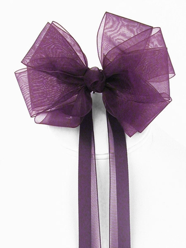 Plum Organza Hair Clip w/ Ribbon