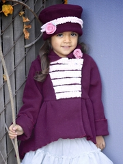 Plum Panne High Low Fleece Coat