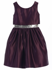 Plum Satin w/ Sequin Waist Trim Dress