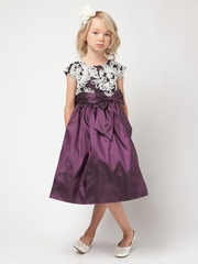 Plum Taffeta Dress w/ Fanned Embroidery
