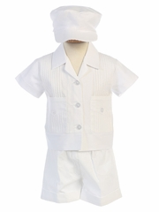 Poly Cotton Pintuck Shirt & Shorts Set