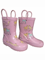 Ponies on Pink Rain Boots
