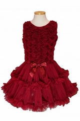 Popatu 989 Little Girls Burgundy Rose Soutach Petti Dress