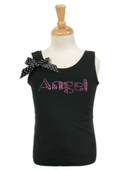 Popatu Black Angel Rhinestones Tank Top