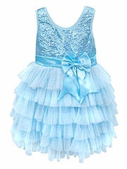 Popatu Blue Sequin Shimmery Dress w/ Bow