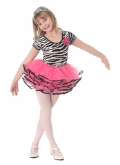 CLEARANCE - Popatu Cap Sleeve Zebra Top Hot Pink Bottom Dance Dress