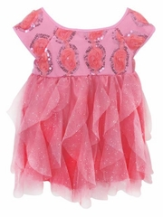 Popatu Coral Rosebud Sequin Dress