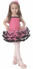 Popatu Hot Pink Dance Dress w/Black Polka Dot Ribbon