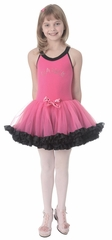 Popatu Hot Pink Dance Dress w/Rhinestone Word & Black Ruffles