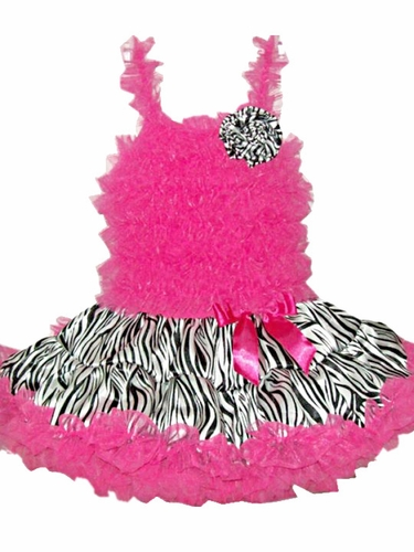 Popatu Hot Pink Zebra PettiDress w/Zebra Flower