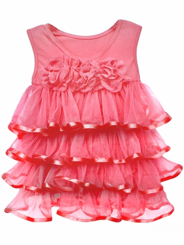 Popatu Peach Ruffle Dress