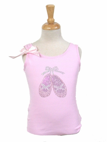 Popatu Pink Ballet Shoes Rhinestones Tank Top