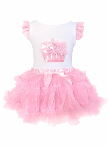 Popatu Pink Birthday Cupcake Top & Tutu Set