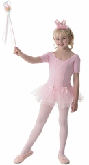 Popatu Pink Cotton Cap Sleeve Leotard w/Sparkling Skirt Dance Dress