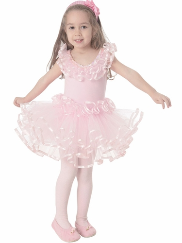 "Popatu Pink ""Dance"" Dress w/Satin Layer Trim"