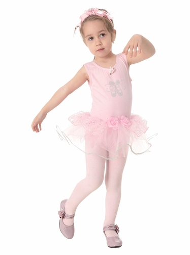 Popatu Pink Dance Playing Dress w/Rhinestone Ballet Shoes