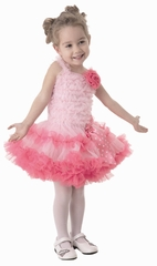 Popatu Pink Petti Dress w/Hot Pink Ruffles