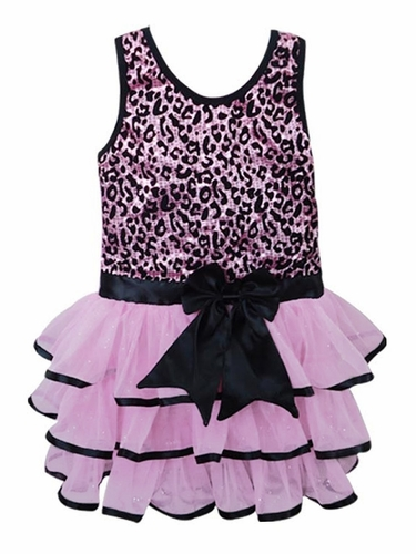Popatu Pink Sequins Leopard Dress