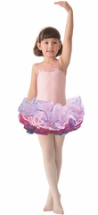 Popatu Pink Top w/Sequins & Multicolor Layered Tulle Skirt Dress
