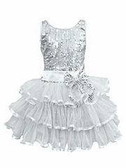 Popatu Silver Sequins Bodice Dress