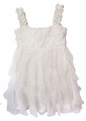 Popatu White Rosette Dress