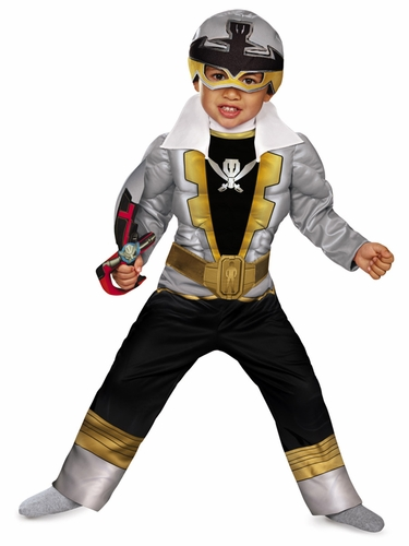 Power Ranger Silver Super Megaforce Toddler Muscle Costume