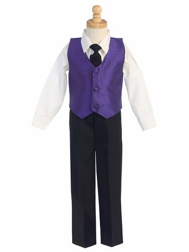 Purple Boys Poly Silk Vest & Black Pant Set