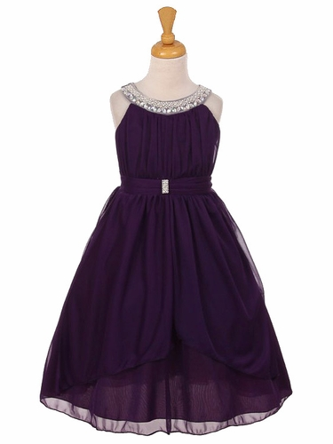 Purple Chiffon Pleated Jeweled Neckline Dress