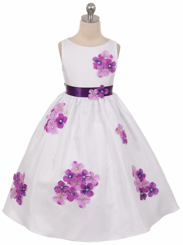Purple Flower Petal Shantung Dress