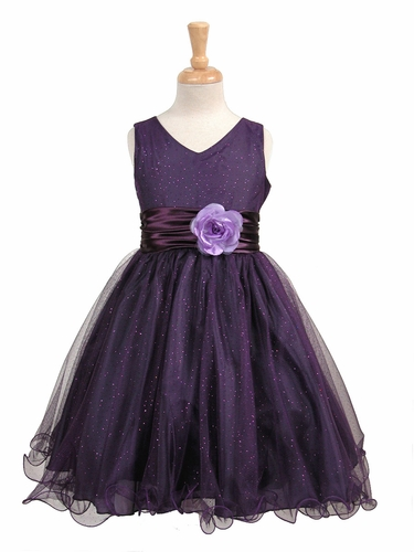 Purple Glittered Poly Mesh w/ Matching Charmeuse Waist & Flower
