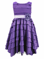 Purple Horizontal Ruffle Dress