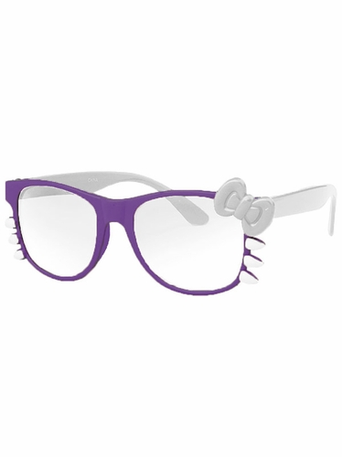 Purple Junior Clear Polycarbonate Lens Sunglasses w/Bow