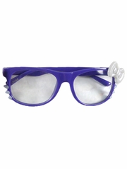 Purple Kids Clear Polycarbonate Lens Sunglasses w/ White Bow