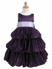 Purple Layered Satin Bubble Dress w/ Lilac Sash