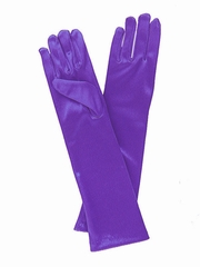Purple Long Satin Gloves