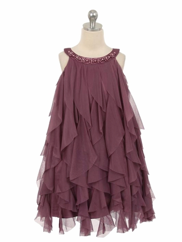 Purple Mesh Ruffle Dress