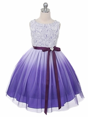 Purple Ombre Dress w/ Rosette Bodice