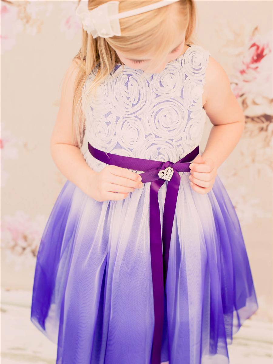 Purple Ombre Dress W Rosette Bodice