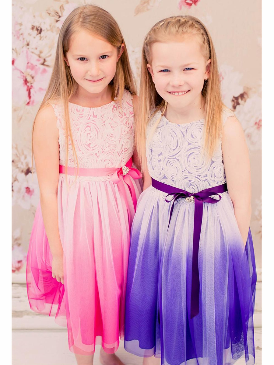 2278a4bbd ... Flower Girl Dresses > Purple Ombre Dress w/ Rosette Bodice. Click to  Enlarge Click to Enlarge Click to Enlarge
