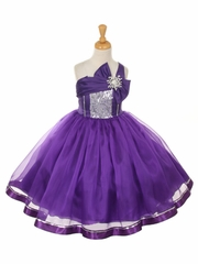Purple One Shoulder Sparkle Organza Dress