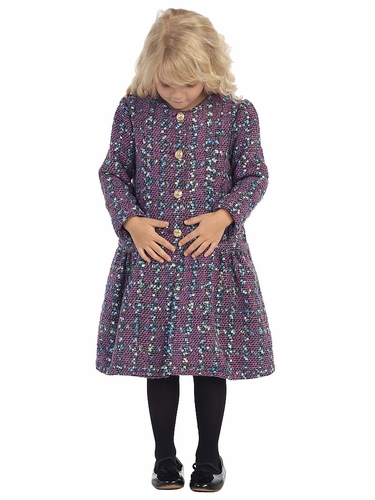 Purple Patterned Button Down Girls Coat