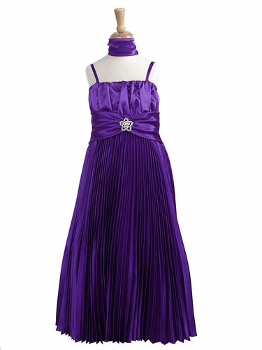 Purple Pleated Shiny Satin Long Dress